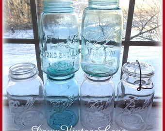 COLLECTION of 6 VINTAGE Ball and Atlas Clear and Blue Quart Jars