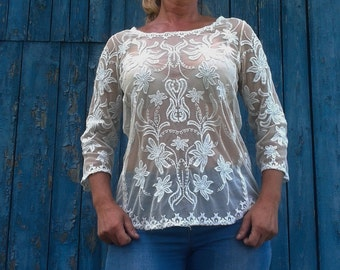 Vintage Romantic lace blouse sexy lace top BOHO white lace blouse ivory embroidered top Monsoon rustic blouse top sexy top