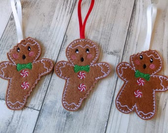 bitten gingerbread decoration, gingerbread decorations, gingerbread men set, traditional christmas, tree decoration, tree ornament, quirky
