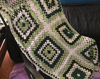 Green and White Granny Square Crochet Blanket