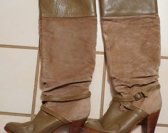 Vintage Suede LeatherTall Slouchy Buckle Cowboy Boots