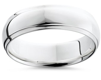 6MM Half Round Edge Mens Wedding Band 14K White Gold Comfort Fit High Polished