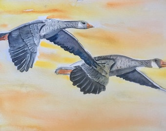 Original Painting Canadian Goose Flying Birds Seagull Bird Lover Gift Watercolor Painting Office Wall Art Nursery Decor Office Decor
