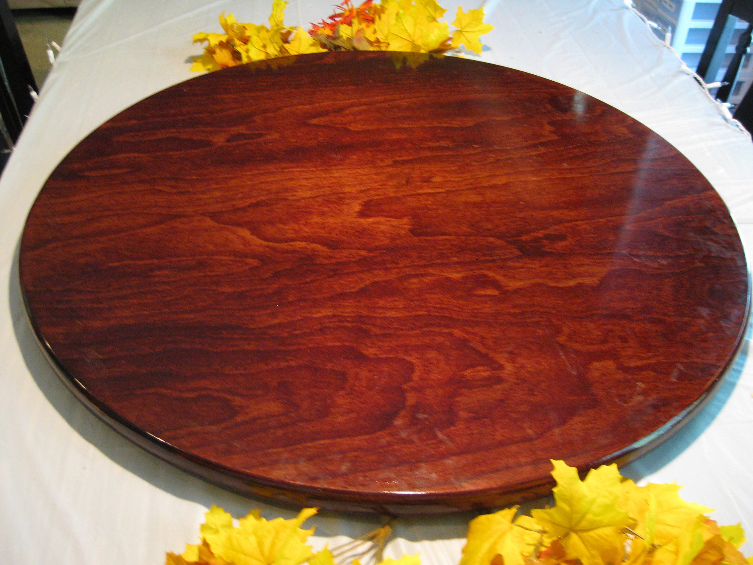 Dark Cherry Wood Lazy Susan For Dining Table Up To 40 44 Even 48 Inch  Diameter (Stained To Match Any Color)