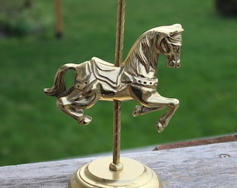 """Brass Carousel Horse, Horse Statue, Brass Horse, Merry Go Round, Ring Holder, Jewelry Holder Made in Taiwan 8"""" x 3 1/2"""""""