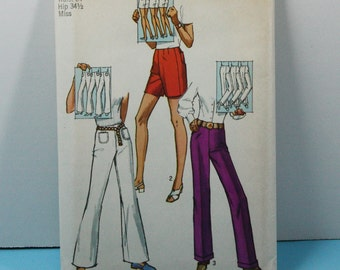 UNCUT, Vintage 1970s, Sewing Pattern, Simplicity 9217, Misses' Size 10, Pants and Shorts, 1970s Pattern, OLD2NEWMEMORIES