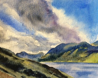 Lake District, Buttermere, Cumbria, England painting, English landscape, Buttermere lake