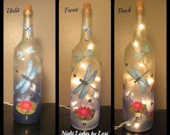 Dragonfly Wine Bottle Night Light/Blue/Decor/Lamp/Lighting