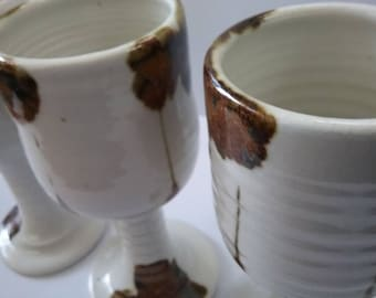Pottery goblets set of three