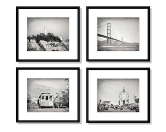 SALE, San Francisco Photo Set, San Francisco Photography, Golden Gate Bridge, Cable Car, Coit Tower, Wharf, Wall Art, Set of 4 Prints