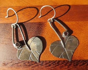 Large Sterling Silver Brutalist Redbud Leaf and Garnet Dangle Earrings