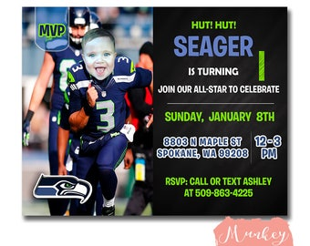 FREE SHIPPING - seahawks invitations, first birthday football invitations, boy football birthday invitations, seattle seahawk party