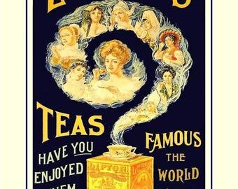 "Lipton Tea Illustration Poster, Kitchen Wall Decor, Gift, Pantry Wall Art, Art Print, Coffe Cup, Tea Cup, Teapot, Home Decor, 8x10"" 11x14"""