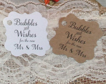 Bubbles and Wishes for the new Mr and Mrs, Gift Tags, Wedding Favor, Wedding Favor Tag, Bag Tag, Favor Tags, Wedding Favor, Personalized Tag