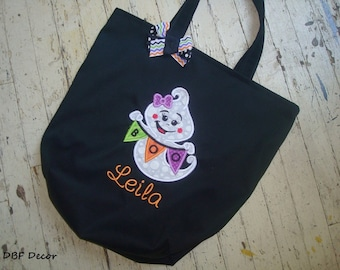 GIRLS PERSONALIZED HALLOWEEN Bag - Trick or Treat Bag - Appliqued Treat Bag - Halloween Tote - Appliqued Ghost with Name