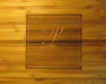 Monogrammed Bamboo Cutting Board