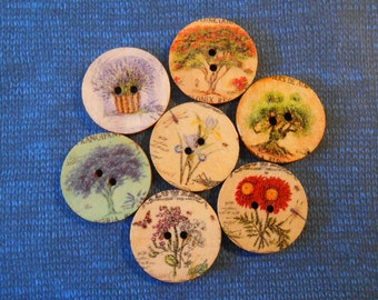 15 Printed Natural Wood Buttons Large 25mm 20mm Painted Buttons Flowers & Trees Button Crafts Art Sewing Knitting Crochet Gift Wrap Supplies