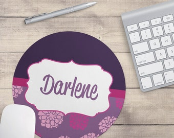 Plum Lilac Flower Mouse Pad, Pink Mouse Pad, Purple Mouse Pad, Name On Mouse Pad, Custom Mouse Pad, Personalized Mouse Pad (0006)