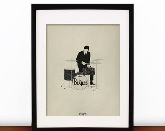 Ringo Starr Minimalist 8x10 Print  - The Beatles