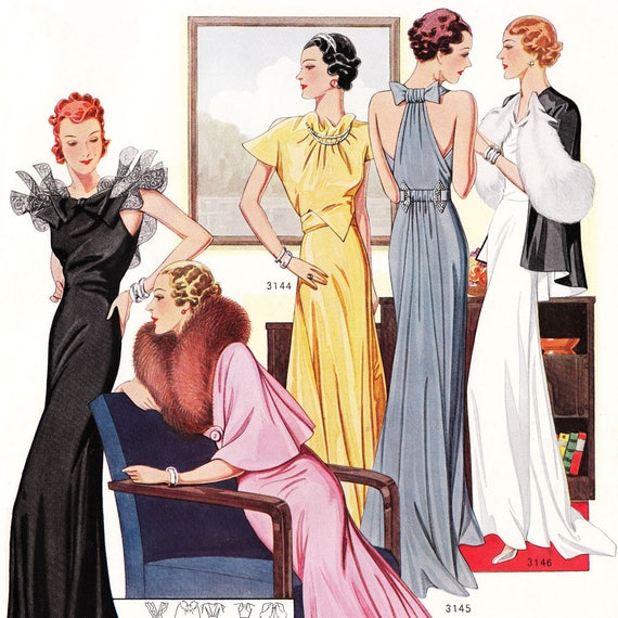 PDF of 30s fashions – couture sewing pattern catalog – Manteaux Parisiens, Winter 1932 - instant download