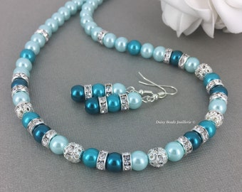 Shade of Teal Jewelry Teal Necklace Teal Bracelet Pearl Jewelry Set Bridesmaids Gift Bridesmaid Jewelry Bridesmaid Necklace