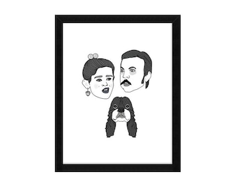 Three Custom Face Drawing Portraits of people, couples or pets