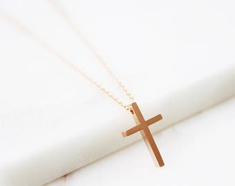 Rose gold Cross Necklace Cross Charm Necklace Tiny Cross Necklace Gifts for Friends