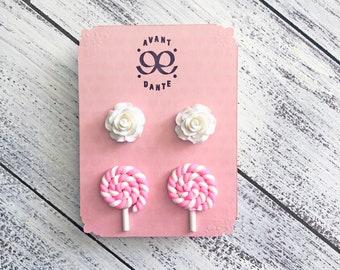Lollipop Candy, White Rose, Stud Earrings, Resin, Cabochon, Retro-Kitsch, Super Kawaii, Flower earring, Food earring, 2 Pair