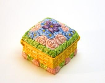 Springtime Floral Porcelain Trinket Box