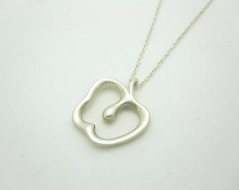 """Tiffany & Co. Sterling Silver Elsa Peretti Apple Pendant Necklace 16"""""""