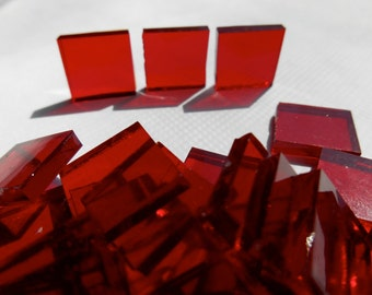 """100 Pieces 1/2"""" x 1/2"""" Red Stained Glass Mosaic Tiles Hand cut"""
