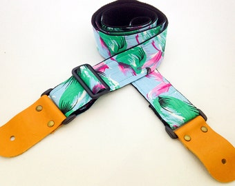 NuovoDesign Pond color Guitar strap, leather attachment with end pin & tie string included