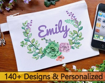 Floral makeup bag, personalized bridesmaid makeup bag, Flower wreath custom cosmetic bag, will you be my bridesmaid proposal gifts for guest
