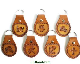 Leather Key Fob, Leather Keyring, Leather Keychain, Key Organizer,  Key Ring, Owl, Fishing, Horse, Cross, Dragonfly, Biker, Motorbike, Gift