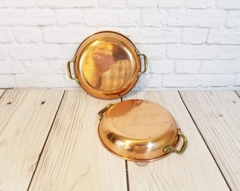 Vintage Copper and Aluminum Small Saute Pan Skillet Pot Brass Handles Set of 2
