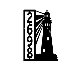 Lighthouse Metal Address Sign Metal House Number sign Home Decor Lighthouse Metal Address Number Plaque,Lighthouse Address Number Sign