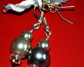 Homemade Vintage Grey Pearl Earrings