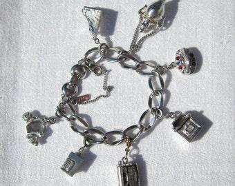 Vtg 50s/60s Silver Tone Monet Charm Bracelet with Job Theme
