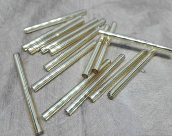 30 pearls-tubing-glass-Golden-31-34 mm long and 3 mm wide