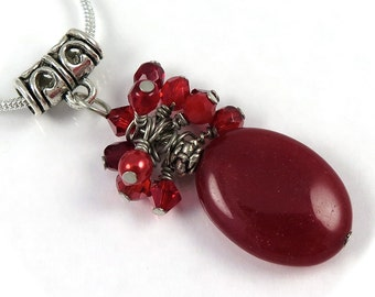 SALE - Ruby Red Wire Wrapped Crystal Clusters on Red Oval Pendant Earring Set