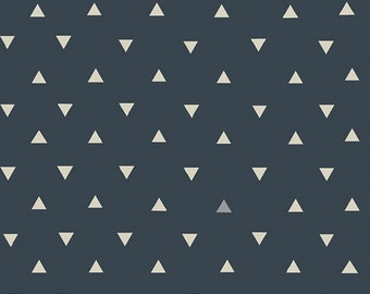 Navy Blue Modern Cotton Fabric, Triangles, Art Gallery, Triangle Tokens Ink Metallic, Geometric Design By the Yard Yardage Quilting Weight