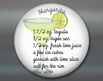 margarita gifts fridge magnets - margarita cocktail recipe kitchen decor - best friend Christmas gifts - home bar decor - MA-1647