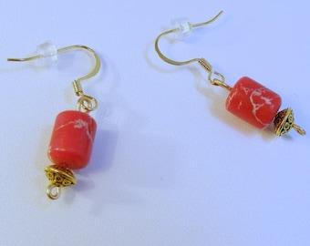 Gold Red Opal Drum Earrings