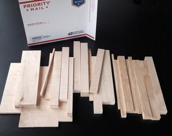 Box of Wood Scraps, Unfinished Curly Maple and Birch Crafting Wood Pieces, USPS Regional Box of Wood