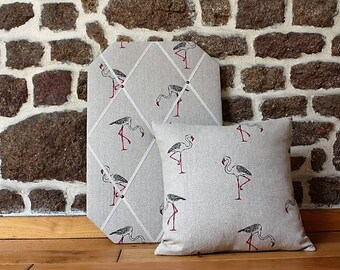Clarke and Clarke Flamingo Small Set of Soft Furnishings (French Memo Board; Cushion) - home decor