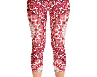 Capris, Red Yoga Pants, Printed Leggings for Women, Mid Rise Waist Yoga Pants
