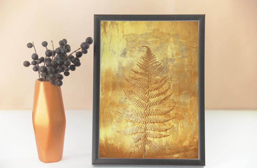 botanical prints fern prints printable art gold wall art