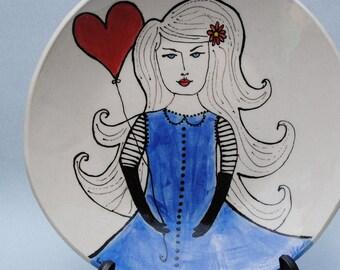 plate ceramic dish illustrated ceramics art plate red heart balloon