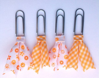 Plaid and floral planner clips, Bias tape bible clip, set of 4 clips, book page marker, yellow gigham planner acessory, teacher gift pc041