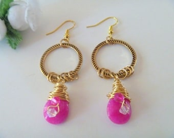 Hot Pink Jade Gemstone Wire wrapped Earrings